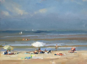 Sunny at the beach white parasol Oil Paintings