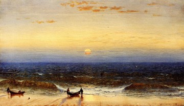 Beach Painting - Sunrise Long Branch New Jersey scenery Sanford Robinson Gifford Beach