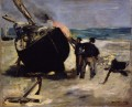 Tarring the Boat Eduard Manet Beach