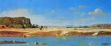 The Banks of the Durance scenery Paul Camille Guigou Beach Oil Paintings