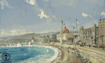 Beach Painting - The Beach at Nice Thomas Kinkade