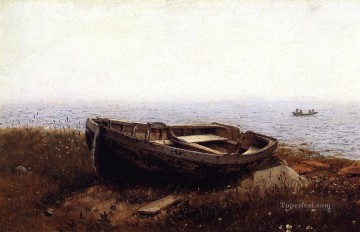 aka - The Old Boat aka The Abandoned Skiff scenery Hudson River Frederic Edwin Church Beach