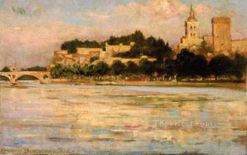 Popes Painting - The Palace of the Popes and Pont dAvignon impressionism landscape James Carroll Beckwith Beach