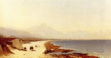The Road by the Sea Palermo Italy scenery Sanford Robinson Gifford Beach Oil Paintings