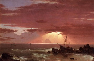 The Wreck scenery Hudson River Frederic Edwin Church Beach Oil Paintings