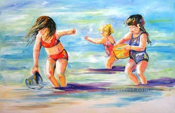 Three Sisters at the Beach Oil Paintings