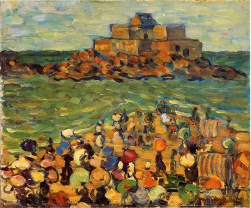 beach chateaubriand s tomb st malo Oil Paintings