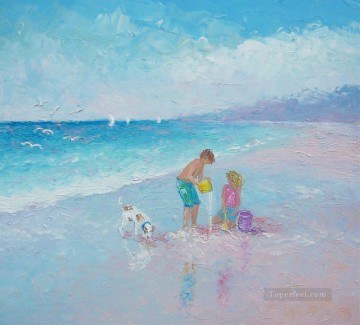 boy and girl with dog on beach Oil Paintings