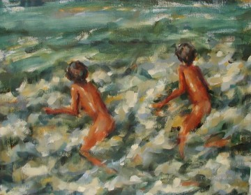 Beach Painting - boy playing waves