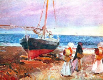 Beach Painting - fisherwomen on the beach valencia 1903