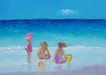 girls playing on beach Oil Paintings