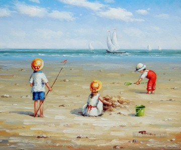 kids playing on beach Oil Paintings