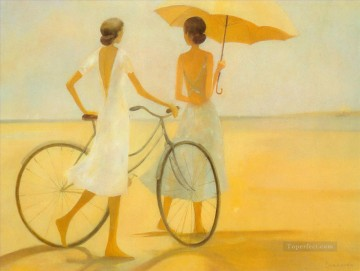 Beach Painting - lady with bicycle at beach