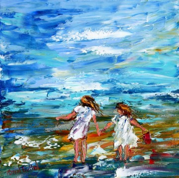 knife Art Painting - little girls on beach by knife