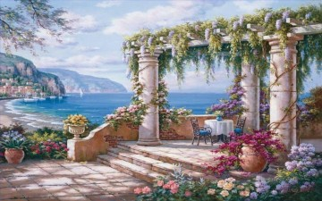 mediterranean view Beach Oil Paintings