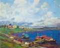 morning in uglich 1913 Konstantin Yuon beach landscape