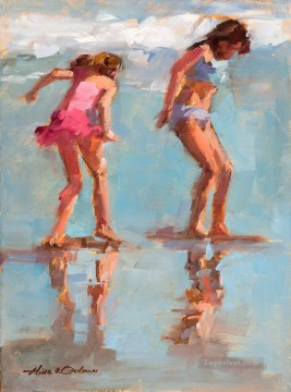 on Beach Playing girl Oil Paintings