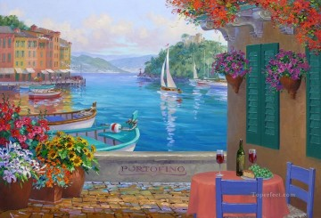 portofino reflections Beach Oil Paintings