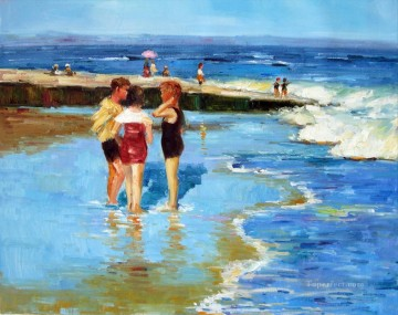 potthast children at beach Oil Paintings
