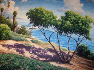 trees and flower on beach Oil Paintings