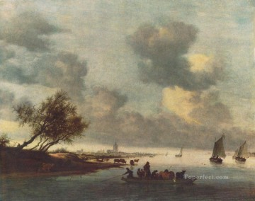 Beach Painting - A Ferry Boat near Arnheim boat seascape Salomon van Ruysdael Beach