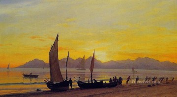 Boats Ashore At Sunset luminism Albert Bierstadt Beach Oil Paintings