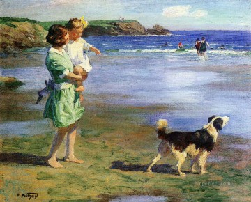 Edward Henry Potthast mother and girl with dog on seaside Beach Oil Paintings