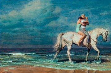Love beach horse Oil Paintings