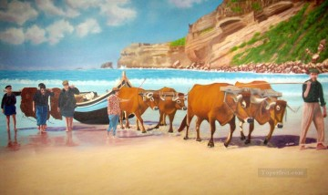 Beach Painting - bulls pulling boat on beach