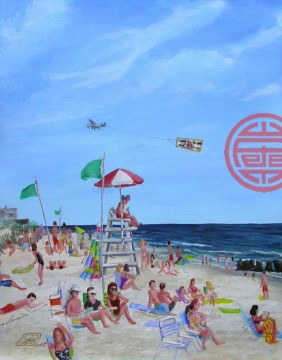 bungalow beach by pete tartaglia Oil Paintings