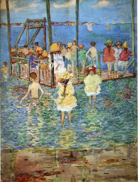 Beach Painting - children on a raft 1896