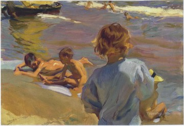 Beach Painting - children on the beach valencia 1916