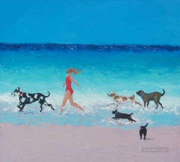 girl and dogs running on beach Oil Paintings