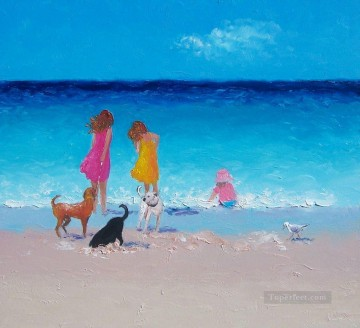 girls and dogs at beach Oil Paintings