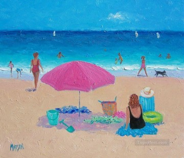 Beach Painting - girls on beach