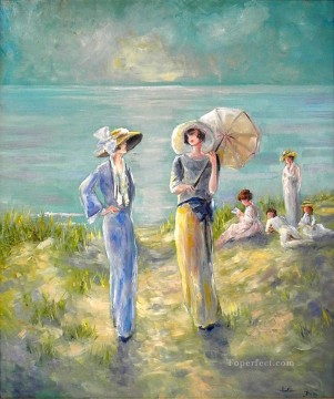 ladies at beach Oil Paintings