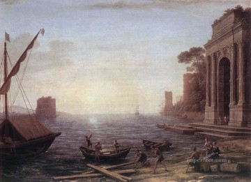 sunset sunrise Painting - A Seaport at Sunrise landscape Claude Lorrain Beach