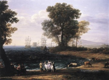 Coast Painting - Coast Scene with the Rape of Europa landscape Claude Lorrain Beach