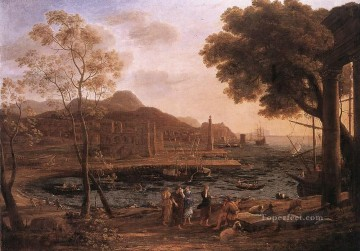 Harbour Painting - Harbour Scene with Grieving Heliades landscape Claude Lorrain Beach