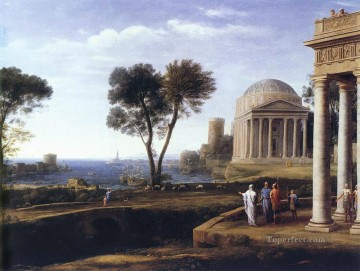 Lorrain Art Painting - Landscape with Aeneas at Delos Claude Lorrain Beach