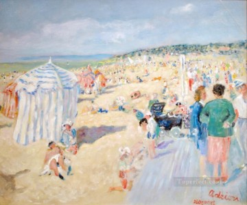 Lucien Adrion La Plage a Deauville Oil Paintings