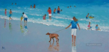 beach people and dog Oil Paintings