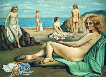 Chirico Art Painting - giorgio de chirico bathers on the beach 1934