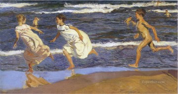 running along the beach 1908 Oil Paintings