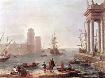 Port Scene with the Departure of ulysses from the Land of the Feaci landscape Claude Lorrain Beach Oil Paintings