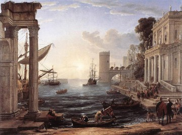 Lorrain Art Painting - Seaport with the Embarkation of the Queen of Sheba landscape Claude Lorrain Beach