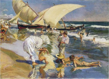 Beach Painting - valencia beach in the morning light 1908