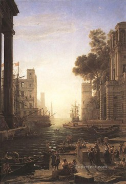 Artworks in 150 Subjects Painting - Embarkation of St Paula Romana at Ostia landscape Claude Lorrain Beach