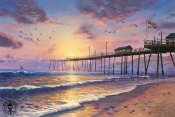 Artworks in 150 Subjects Painting - Footprints in the Sand Thomas Kinkade Beach
