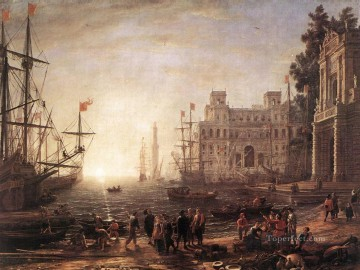 Artworks in 150 Subjects Painting - Port Scene with the Villa Medici landscape Claude Lorrain Beach